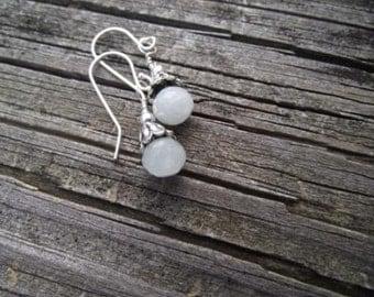 Winter's Blossom Earrings - Aquamarine Onion Drop Earrings