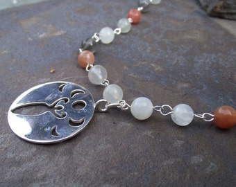 Triple Moonstone Goddess Necklace - 22 inch - White, Peach and Gray Moonstone