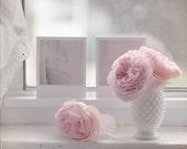 Vintage Polaroid pink roses white hobnail vase nature 8x10 fine art photograph photo wall decor baby girl nursery pastel feminine - Kristybee