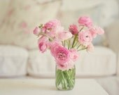 Still Life Photography - Pink Ranunculus Bouquet Photo Still Life Floral Flowers White Pink Romantic Home Shabby Cottage Style Decor Print