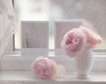 English Roses Print, Flower Photography, Pink Roses Print, Still Life Photography, Pink Nursery Art, Girls Room, Pastel Photo, Polaroids