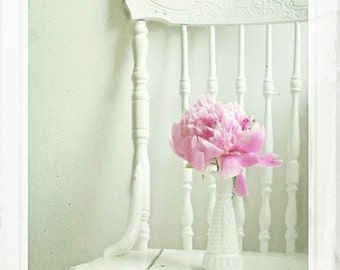 Still Life Photography - Peony Pink Nursery Photo Girls Room Pastel Home Decor Print Flowers Floral Shabby Romantic Art Still Life Nature