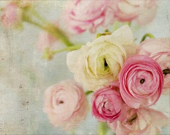 Still Life Photography - colorful pink flowers bouquet ranunculus print shabby chic home decor floral bouquet pink flowers still life photo