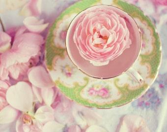 Still Life Photography - Pink English Roses Vintage Tea Cup Still Life Green Feminine Romantic Home Decor Nursery Girls Room Flowers Print