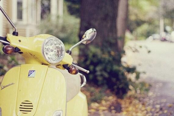 Vespa Photography - Yellow Vespa, Vespa Photo, Hipster Retro Style, Yellow Mustard, Vespa Photography, Vintage Vespa, Fall Colors, Modern