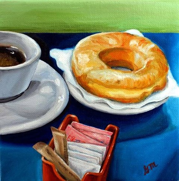 Coffee and donut - 6x6 original oil painting by G.Matta