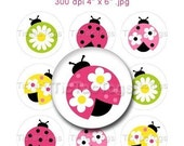 Pretty Lady Ladybug Pink Flower Bottle Cap Images Art Collage 1 Inch Circles  4x6 - Instant Download - BC148