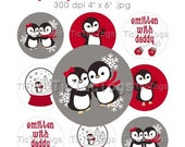 M2MG Penguin Chalet Bottle Cap Art Collage 1 Inch Circles Stickers Made To Match 4x6 - Instant Download - BC361