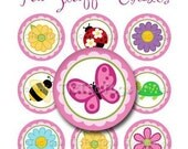 Fun Stuff Bottle Cap Images Digital Collage Flowers Bee Turtle Ladybug Butterfly Daisy Scalloped - Instant Download - BC351