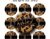 Editable Cheetah Brown Black Bottle Cap Collage Digital Set 1 Inch Circle 4x6 JPEG - Instant Download - BC191