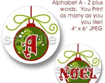 Christmas Bulb Bottle Cap Images Digital Set 1 Inch Circle Alphabet Alpha A-Z Words - Instant Download - BC240