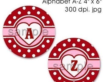 SALE - Heart Love Cigar Band Polka dot Alphabet Bottle Cap Images Digital 1 Inch Circle Heart Valentine's Day - Instant Download - BC321