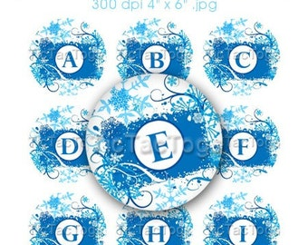 Winter Snowflake Bottle Cap Images Digital Set 1 Inch Circle Blue Swirls Alphabet Alpha A-Z 4x6 - Instant Download - BC352