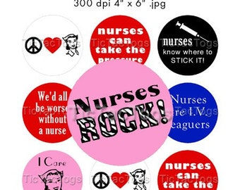 Nurse Sayings Bottle Cap Images Digital Collage 1 Inch Buttons Pins Badge 4x6 - Instant Download - BC312