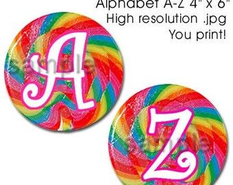 Multicolor Lollipop Swirl Bottle Cap Digital Set 1 Inch Circle Alphabet Alpha A-Z Candy 4x6 - Instant Download - BC372