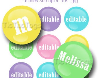 Instant Download - Editable Candy M's Pastel Bottle Cap Images 1 Inch Circles Round Graphics Digi Collage JPEG