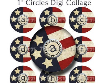 SALE - Vintage American Stars 'n Stripes Bottle Cap Images Digital Set I 1 Inch Circle Alphabet Alpha A-Z Patriotic 4X6 - Instant Download