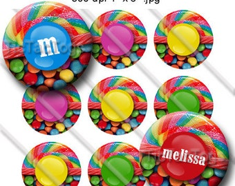 Editable Candy Shop Bottle Cap Digital Art Collage Set 1 Inch Circle 4x6 JPEG - Instant Download - BC412