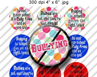 Donation Anti Bullying Sayings Bottle Cap Images Digital Collage 1 Inch Circle Digi Images Polka dot Red Blue 4X6 - Instant Download - BC141