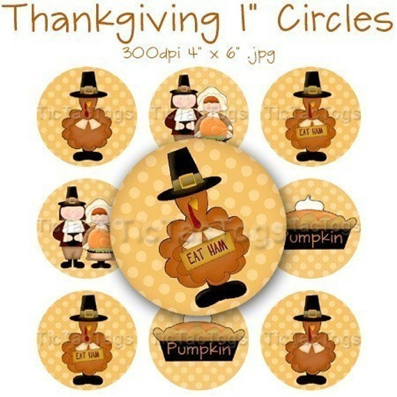 Thanksgiving Pilgrims Turkey Bottle Cap Digital Set 1 Inch Circle Stickers Pumpkin Pie Digi 4x6