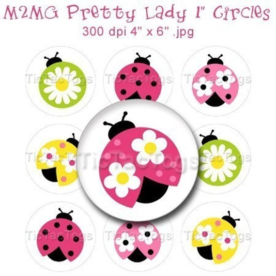 M2MG Pretty Lady Ladybug Bottle Cap Images Art Collage 1 Inch Circles  4x6 - Instant Download - BC148