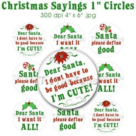 Christmas Santa Sayings Bottle Cap Images Digital Set 1 Inch