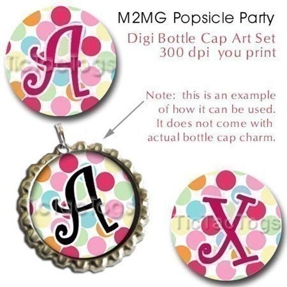 M2MG Popsicle Party Bottle Cap Digital Images Set 1 Inch Circle Alphabet Alpha A-Z Polka-dot 4X6 - Instant Download - BC279