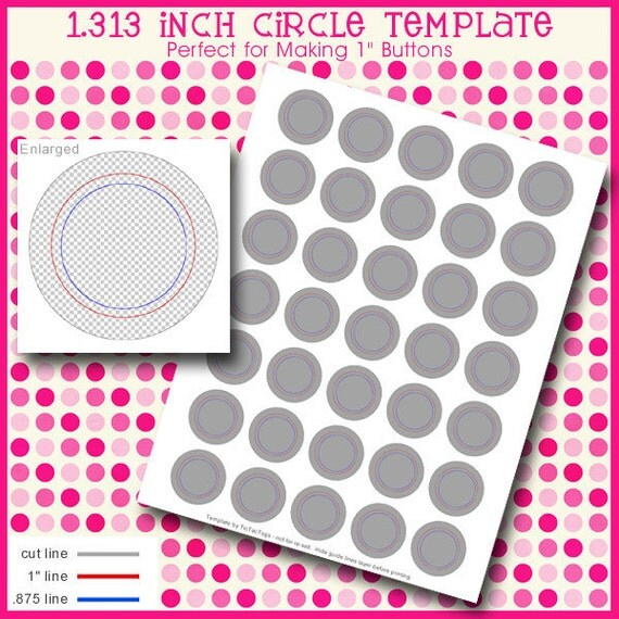 """Instand Download - 1.313 Inch Template for Flair Button Machine Digital Sheet DIY Badges 1"""" Circles 8.5"""" x 11"""" PSD"""