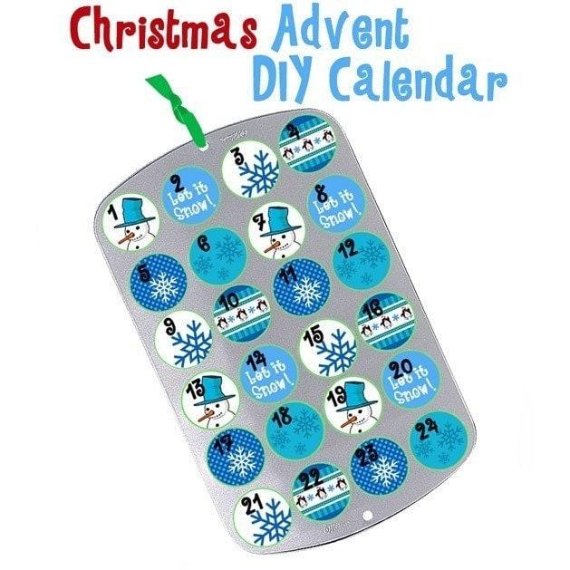 Diy Advent Calendar Muffin Tin : Christmas cupcake muffin tin advent calendar snowman blue