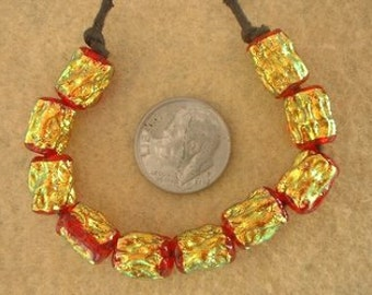 10 Golden Firey Red Dichroic Mini ripple Beads by Dee Howl Beads