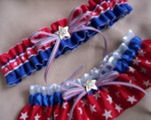 USA Flag Bridal Wedding Garter Set for Military Army Air Force Marines Navy Brides