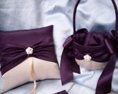 Elegant Champange Deep Dark Purple Wedding Ring Bearer Pillow matching Flower Girl Basket