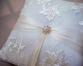 Elegant Ivory Bridal Lace Pearl and Rhinestone Wedding Ring Bearer Pillow