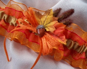 Autumn Fall Leaves Leaf and Cat Tail Wedding Bridal Garter