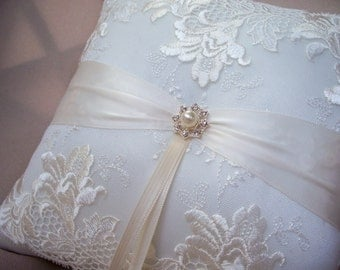 Elegant Ivory Bridal Lace Pearl and Rhinestone Wedding Ring Bearer Pillow