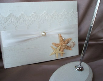 Ivory Silk Beach Wedding Guest Book and Pen Set with Starfish Seashells Bridal Lace Pearl Accent Guestbook
