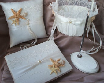 4 pc Elegant Bridal Lace Beach Theme Ivory Pearl Wedding Ring Bearer Pillow Flower Girl Basket Guest Book Pen Stand Starfish Seashell Sash
