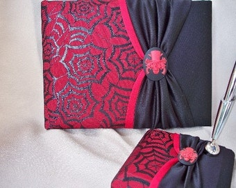 Black Blood Red Guest Book and Pen Set Skull Bones Cameo Spider Web Overlay