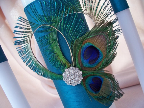 Peacock Feather Teal Rhinestone Accent Bridal Wedding Unity Candle Set