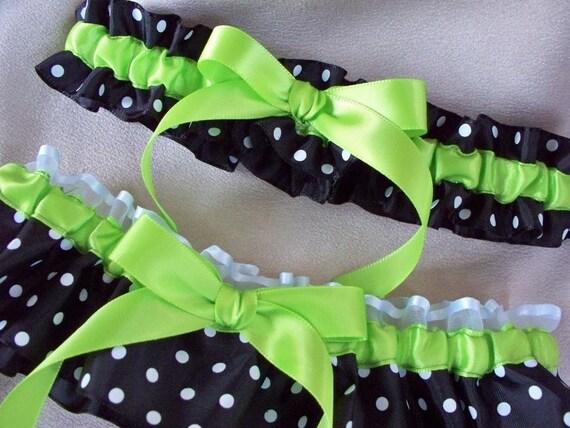Lime Green Black White Polka Dot Wedding Garter Set