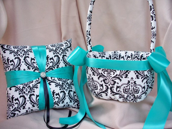 Tiffany or Pool Blue Damask Black White Ring Bearer Pillow Wedding Bridal Accents