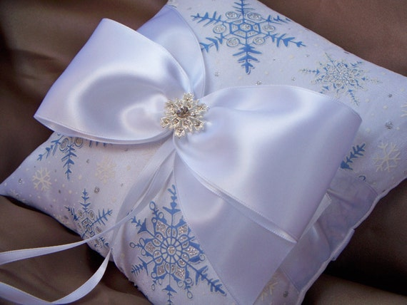 Let it Snow White Blue Silver Snowflakes Overlay Rhinestone Accent Bridal Wedding Ring Bearer Pillow