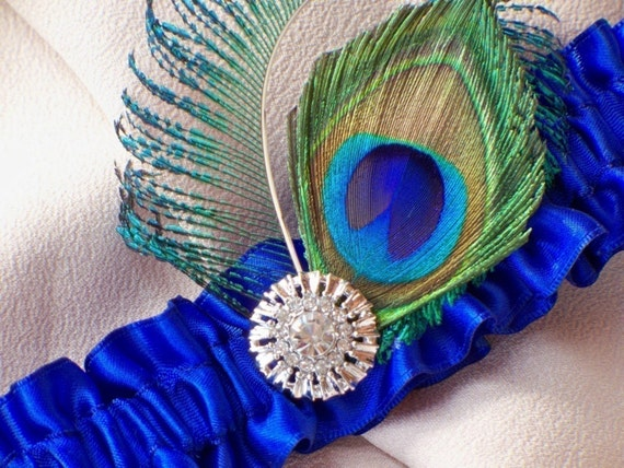 Peacock Feather Royal Blue Accented Bridal Wedding Garter