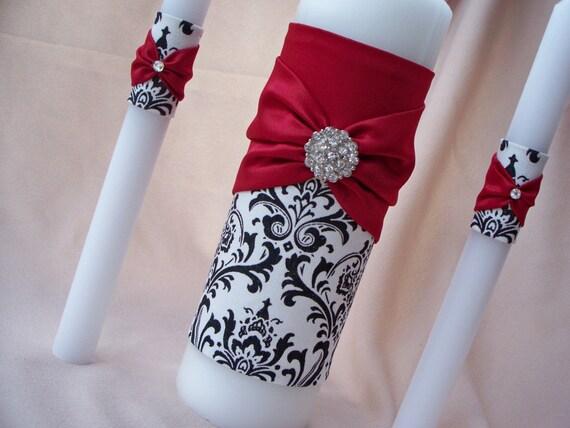 Damask Black White Madison Apple Red Rhinestone Accent Bridal Wedding Unity Candle Set