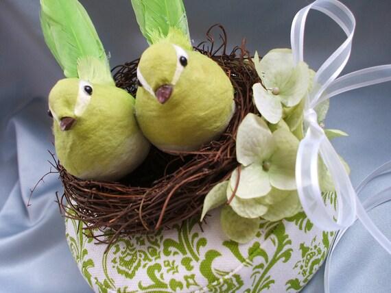 Lime Green White Birds Nest Spring Wedding Ring Bearer Pillow Madison Damask