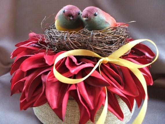 Burgundy Dahlia Bloom Autumn Yellow Birds Nest Rustic Autumn Wedding Ring Bearer Pillow