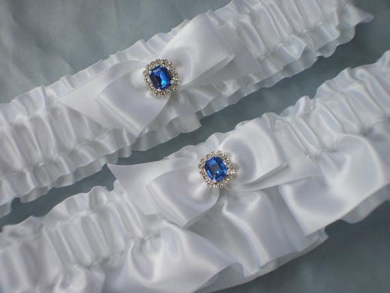 White Royal Blue Rhinestone Accent Bridal Garter Set