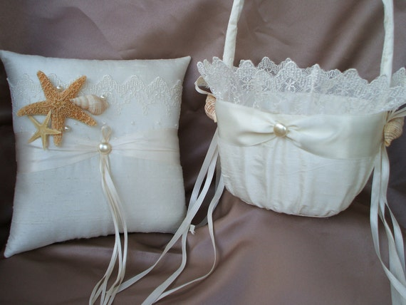 Elegant Bridal Lace Beach Theme Ivory with Accent Pearl Wedding Ring Bearer Pillow and Flower Girl Basket Starfish Seashell Sash