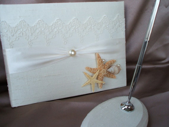 Ivory Silk Beach Wedding Guest Book And Pen Set With Starfish