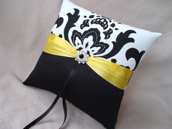Sunshine Yellow Black White Damask Bridal Wedding Ring Bearer Pillow Rhinestone Accented